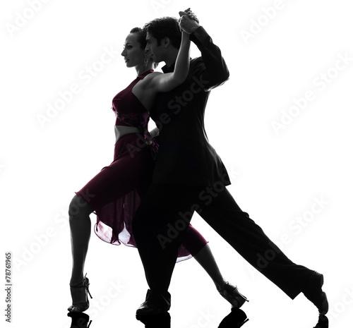 Fotografía  Bailarines del salón de baile mujer hombre pareja silueta tangoing