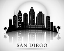 San Diego Skyline. City Silhou...