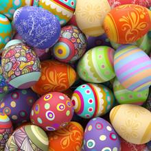 Viele Bunte Ostereier Zu Ostern