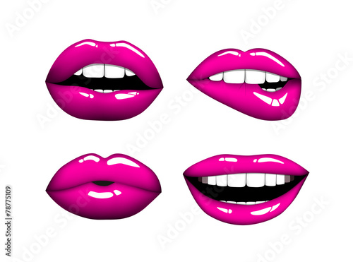 Juliste  Set or collection of various type of pink lips.