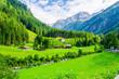Leinwanddruck Bild - Beautiful green alpine landscape, Zillertal  Alps, Austria