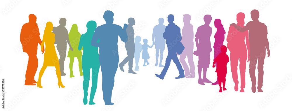 Fototapeta Abstrakte Menschengruppe - Paare in Pastellfarben, Silhouette, Set Menschen, Solidarität, Gemeinwohl der Gesellschaft, Grundeinkommen, Existenzen sichern