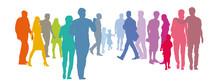 Abstrakte Menschengruppe - Paare In Pastellfarben, Silhouette, Set Menschen, Solidarität, Gemeinwohl Der Gesellschaft, Grundeinkommen, Existenzen Sichern Durch Zusammenhalt