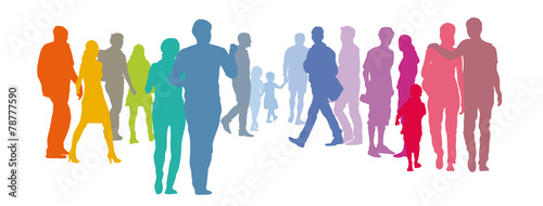 Foto Abstrakte Menschengruppe - Paare in Pastellfarben, Silhouette, Set Menschen, Sol