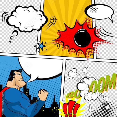 Fotografie, Obraz  Vector Retro Comic Book Speech Bubbles Illustration.