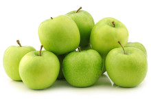 """Freshly Harvested """"Granny Smith"""" Apples  On A White Background"""