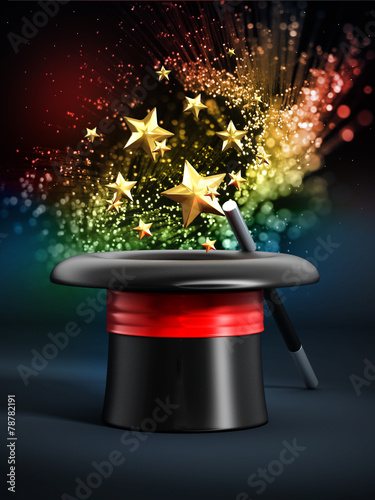 Photo Magician hat with wand and sparkles