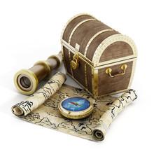 Treasure Chest, Map, Compass And Binoculars