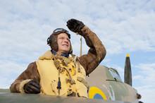 WW2 RAF Pilot With Hurricane Aircraft