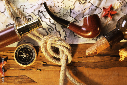 Photo Stands Ship Marine still life with world map and rope