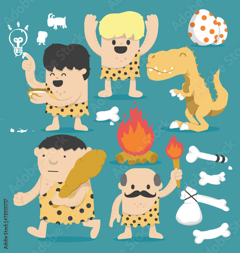 Photo  Illustration Cartoon Caveman set