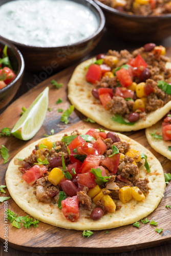 Vászonkép  tortillas with chili con carne and tomato salsa on wooden board