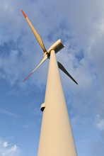 Detail Of A Modern Windturbine Against A Blue Sky