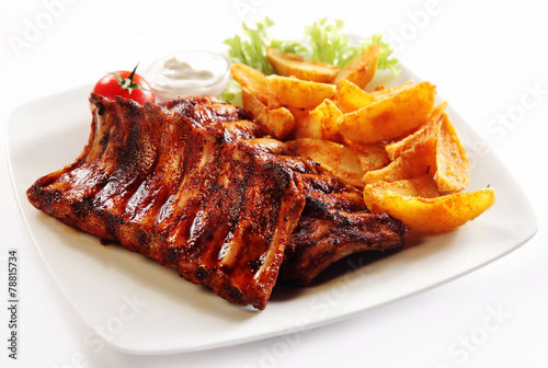 Recess Fitting Grill / Barbecue Grilled Pork Rib and Fried Potatoes on Plate