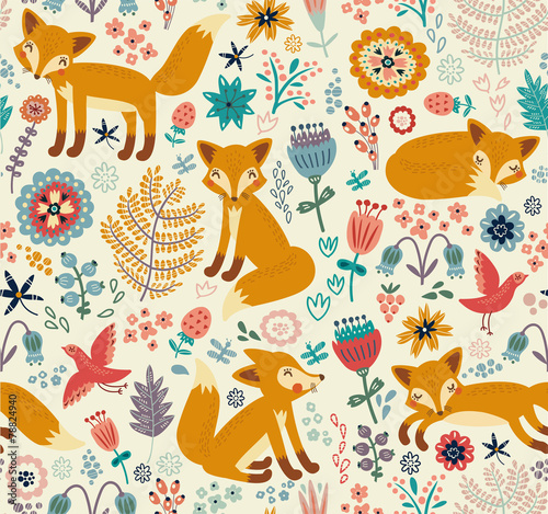 Cotton fabric Seamless pattern with a fox