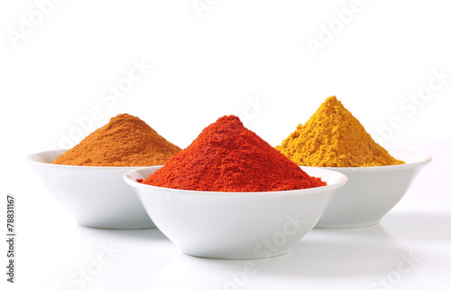 Canvas Prints Spices Curry powder, paprika and ground cinnamon