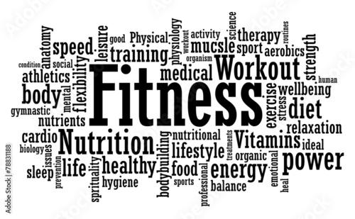 Fitness Word Cloud Illustration