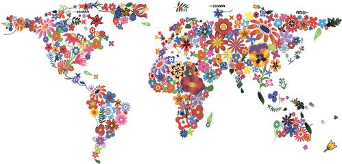 FototapetaFlower World Map
