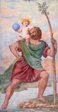 St Christopher, Painting On The House Facade In Graz, Austria