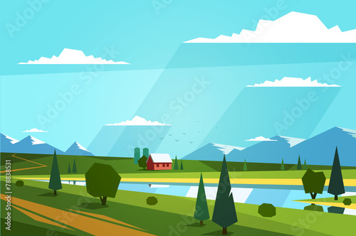 Staande foto Turkoois Natural landscape. Vector illustration.