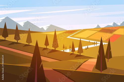 Spoed Foto op Canvas Blauwe hemel Natural landscape. Vector illustration.
