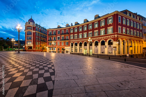 Photo Stands Nice Place Massena in Nice at Dawn, France