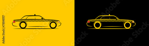 Fotografie, Obraz  silhouette taxi side view