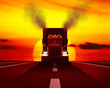 canvas print picture - Truck moving on the road against the setting sun.
