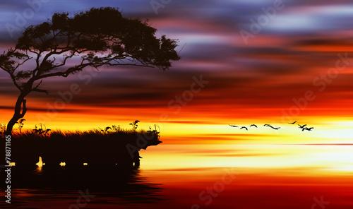 Foto op Plexiglas Bruin Beautiful landscape with birds