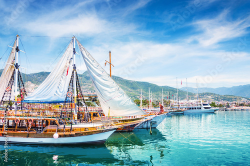 Aluminium Prints Turkey Tourist boats in port of Alanya, Turkey