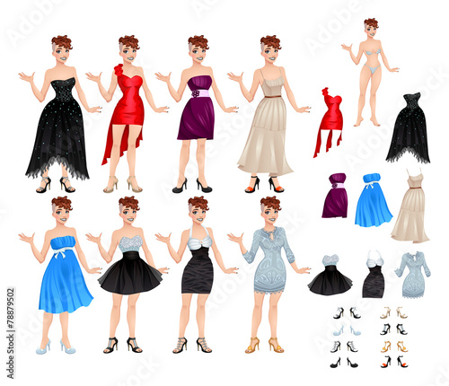 Staande foto Kinderkamer Female avatar with dresses and shoes