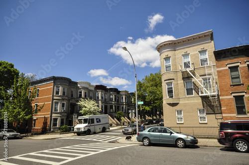 typical neighborhood in Brooklyn, New York, USA