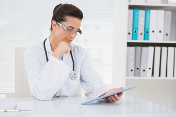 Veterinarian sitting and holding tablet