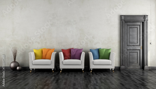 Valokuva  Vintage room with colorful armchair