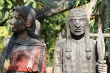 Old Indians Wood Carving In Th...