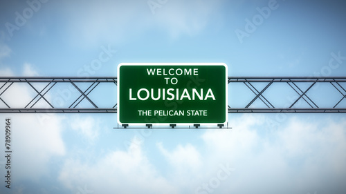 Louisiana USA State Welcome to Highway Road Sign Canvas