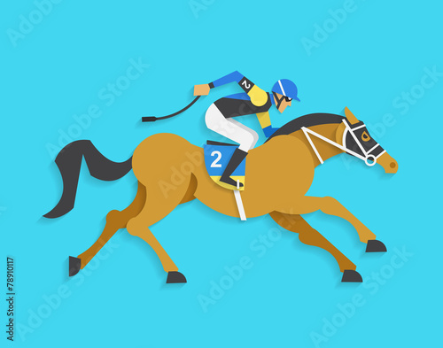 Canvas Print jockey riding race horse number 2, Vector illustration