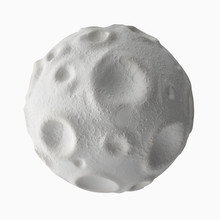 Isolated On White Background Moon With Craters On The Surface.