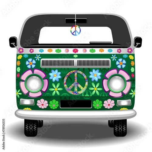 Wall Murals Draw Hippie Groovy Van Peace and Love