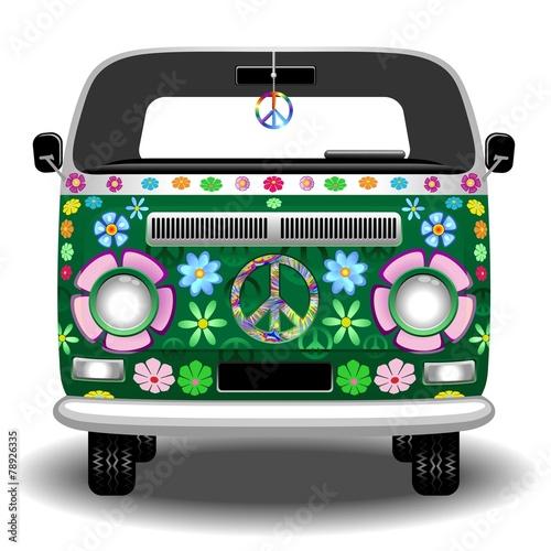 Photo sur Aluminium Draw Hippie Groovy Van Peace and Love