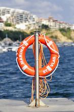 Lifebuoy Against The City Saint Vlasiy In Bulgaria