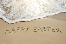 Happy Easter Written On Sand