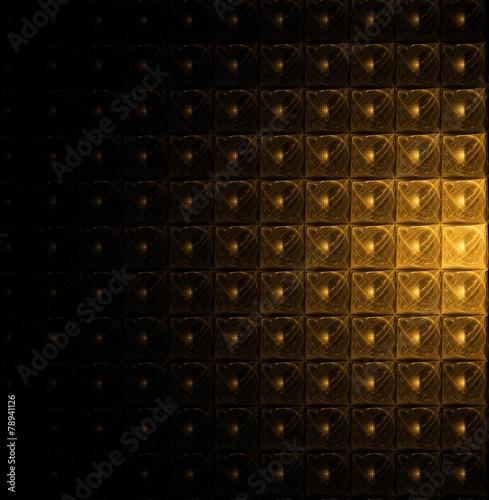Keuken foto achterwand Leder Golden modular pattern on black