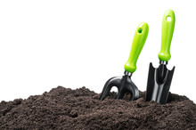 Garden Tools In Soil Isolated ...