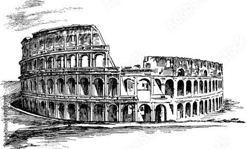 Vintage Illustration Rome Coliseum Tapéta, Fotótapéta