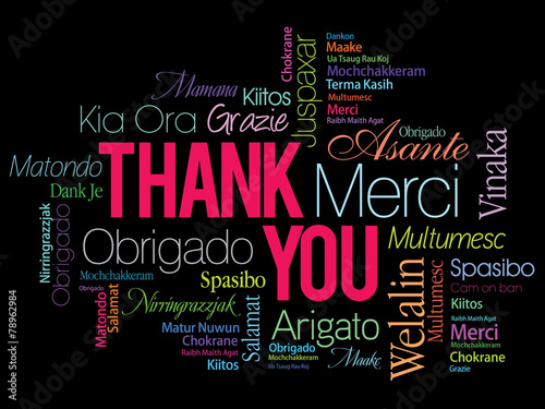 Fotografie, Obraz  Thank You Word Cloud in vector format