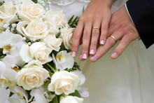 Hands, Rings And Bouquet