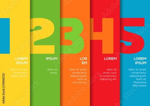 Canvas Print Background with 5 colorful vertical stripes with numbers