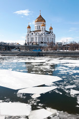 The Cathedral Of Christ The Savior. The ice on the Moskva river