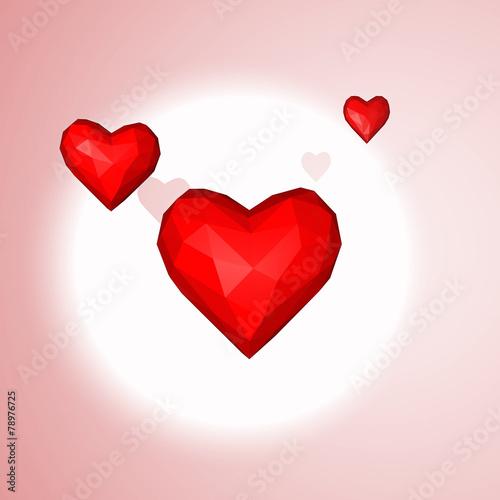 3 Cœur Rouge Amour Jour St Valentin Fond Rose Comprar Esta